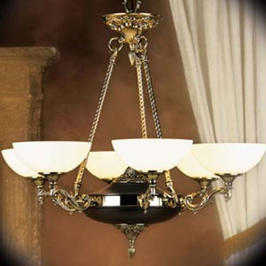 Napoleonic French Brass Six-Light Chandelier