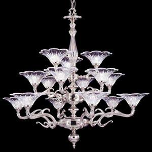 Geneva Polished Silver Fifteen-Light Chandelier