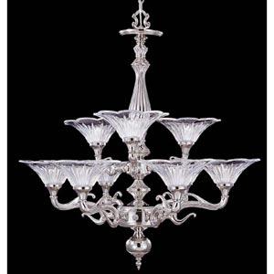 Geneva Polished Silver Nine-Light Chandelier