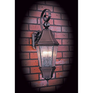 Normandy Siena Bronze with Rain Glass 10-Inch Three-Light Outdoor Wall Mount