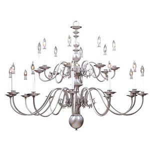 Jamestown Satin Pewter Twenty-Light Chandelier