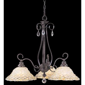 Rhapsody Mahogany Bronze Three-Light Chandelier