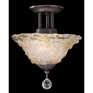 Rhapsody Mahogany Bronze Small Semi-Flush Ceiling Light