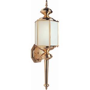 Series 3 Fluorescent Polished Brass One-Light Outdoor Wall Light