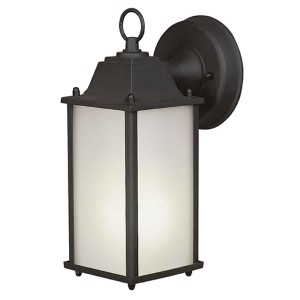 Black One-Light Fluorescent Outdoor Wall Sconce