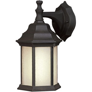 Black One-Light 12-Inch High Fluorescent Cast Aluminum Outdoor Wall Sconce