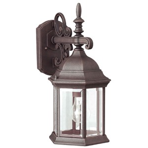 Painted Rust One-Light Cast Aluminum Outdoor Wall Sconce with Clear Beveled Glass Panel
