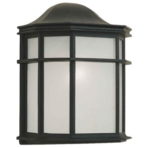 Black One-Light Cast Aluminum Outdoor Wall Sconce with White Acrylic Panel