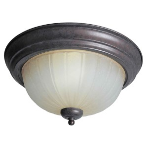 Black Cherry Two-Light Fluorescent Indoor Flush Mount