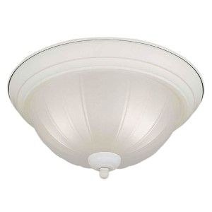 White Two-Light Fluorescent Flush Mount
