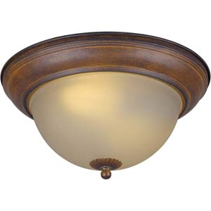 Series 93 Fluorescent Rustic Sienna Two-Light Flush Mount