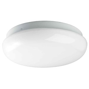White One-Light Mushroom Fluorescent Flush Mount