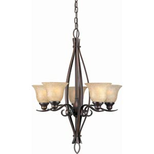 Series 399 Antique Bronze Five-Light Chandelier