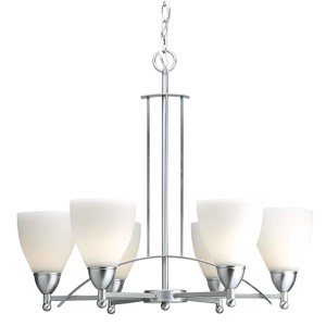 Brushed Nickel Six-Light Chandelier with Satin Opal Glass