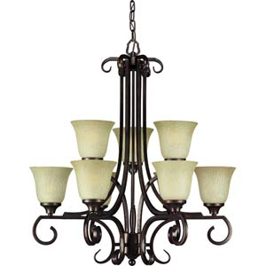 Antique Bronze Nine-Light Chandelier