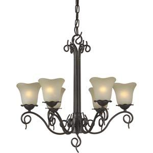 Series 450 Antique Bronze Six-Light Chandelier