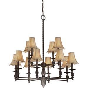 Series 478 Antique Bronze Twelve-Light Chandelier