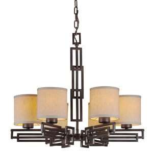 Antique Bronze Six-Light Chandelier with Fabric Shade