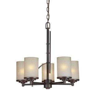Antique Bronze Five-Light 20-Inch Wide Chandelier