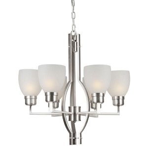 Brushed Nickel Six-Light Chandelier with White Linen Glass