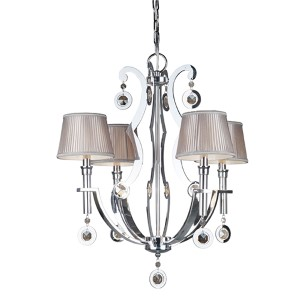 Chrome Four-Light 24-Inch Wide Chandelier