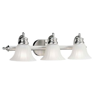 Brushed Nickel Three-Light Bath Vanity Fixture with Fluted Satin Etched Glass