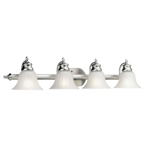 Brushed Nickel Four-Light Bath Vanity Fixture with Fluted Satin Etched Glass