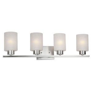 Brushed Nickel Four-Light Bath Vanity Fixture with Frosted Seeded Glass