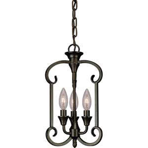 Antique Bronze Three-Light Entry Mini Pendant