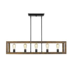Sutton Black 41-Inch Five-Light Island Pendant