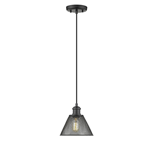Carver Black Seven-Inch One-Light Mini Pendant with Mesh Shade