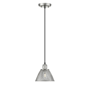 Carver Pewter Seven-Inch One-Light Mini Pendant with Mesh Shade