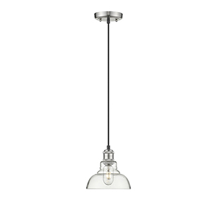 Carver Pewter Seven-Inch One-Light Mini Pendant with Clear Glass