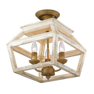 Haiden Burnished Chestnut 13-Inch Three-Light Semi Flush Mount