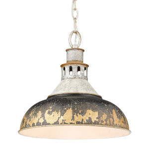 Kinsley Aged Galvanized Steel 14-Inch One-Light Pendant with Antique Black Iron Shade