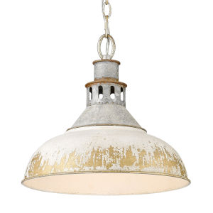 Kinsley Aged Galvanized Steel 14-Inch One-Light Pendant with Antique Ivory Shade