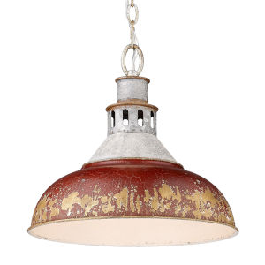 Kinsley Aged Galvanized Steel 14-Inch One-Light Pendant with Antique Red Shade