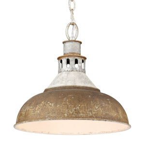 Kinsley Aged Galvanized Steel 14-Inch One-Light Pendant with Antique Rust Shade