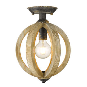 Naima Antique Black Iron 10-Inch One-Light Semi Flush Mount