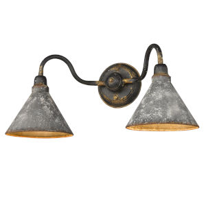 Jasper Antique Black Iron Two-Light Bath Vanity