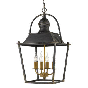 Christoff Antique Black Iron 15-Inch Four-Light Pendant