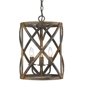 Alcott Antique Black Iron Three-Light Pendant