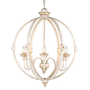 Jules Antique Ivory Six-Light Chandelier