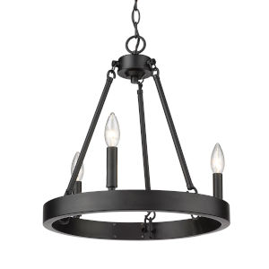 Alastair Matte Black Three-Light Chandelier