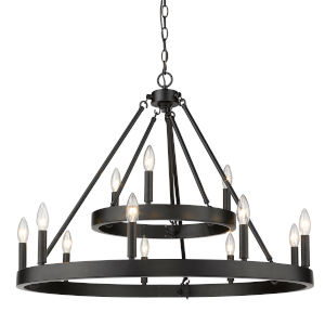 Alastair Matte Black 12-Light Chandelier