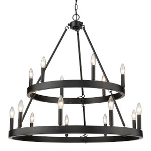 Alastair Matte Black 32-Inch 15-Light Chandelier