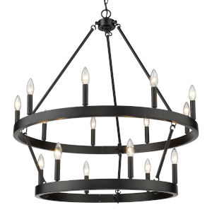 Alastair Matte Black 15-Light Chandelier