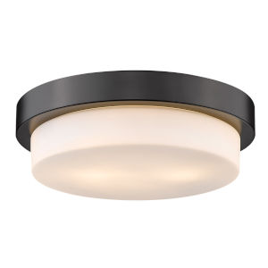 Matte Black 13-Inch Two-Light Flush Mount with Opal Glass