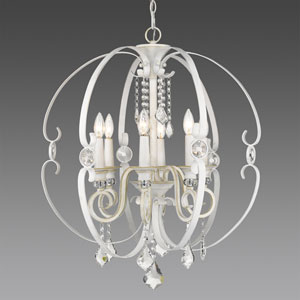 Ella French White Six-Light Chandelier