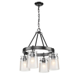 Travers Black Four-Light Chandelier with Clear Frosted Glass